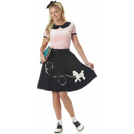 50's Hop With Poodle Skirt Women's Adult Halloween Costume (Black Man White Woman Halloween Costumes)
