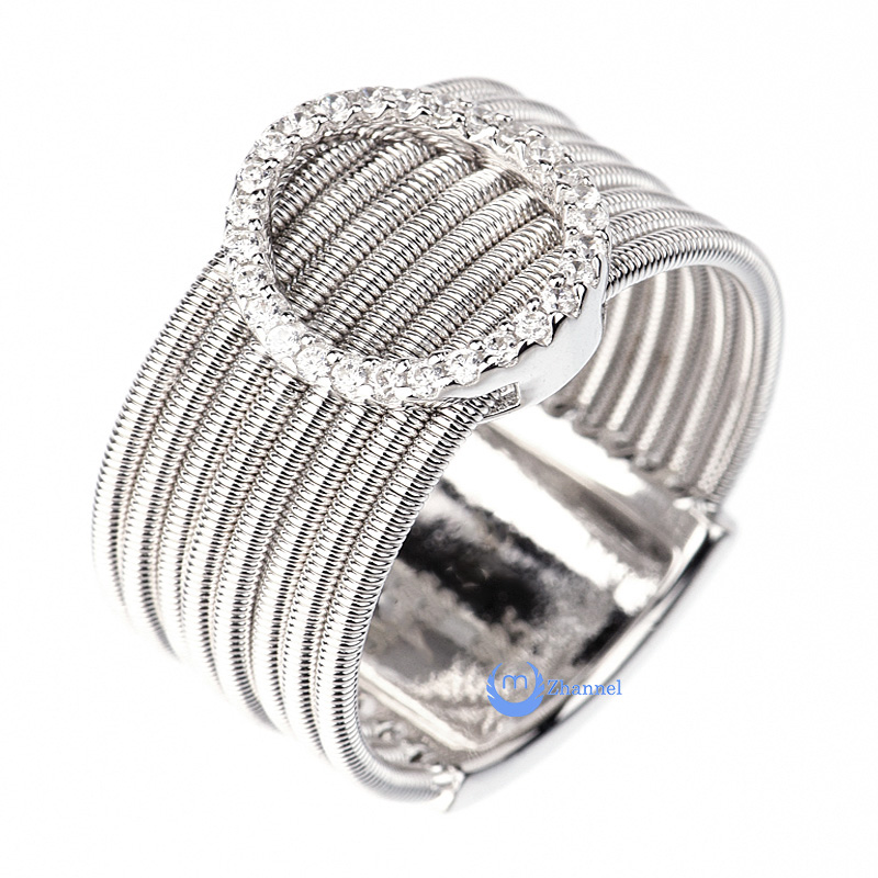 Contemporary Spiral O Circle Silver Fashion Ring YOLANDA Sterling Silver CZ (SIZE: 6)