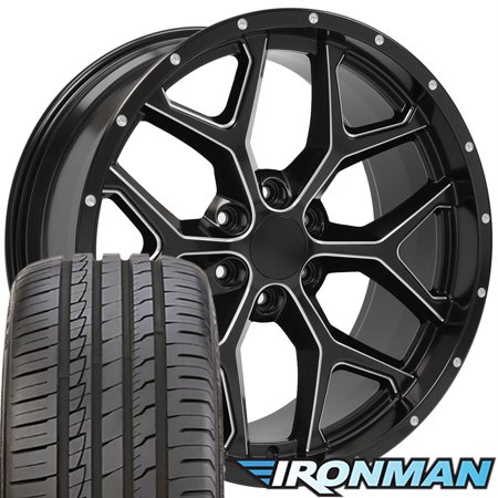 22x9.5 Wheels & Tires Fit GMC Chevy Trucks - Chevy Silverado Style Milled Edge Satin Black Rims w/Ironman Tires, Hollander 5668 - SET