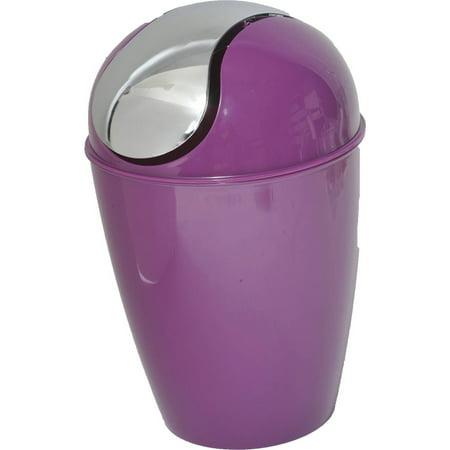 Mini Waste Basket for Bath or Kitchen Countertop 0.5 Liter -0.3 Gal Chrome Lid -Purple Green Polypropylene Oval Basket