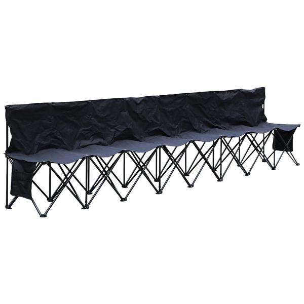 Superior 8 Seats Portable Folding Bench For Camping Bench Chairs With Backrest Black