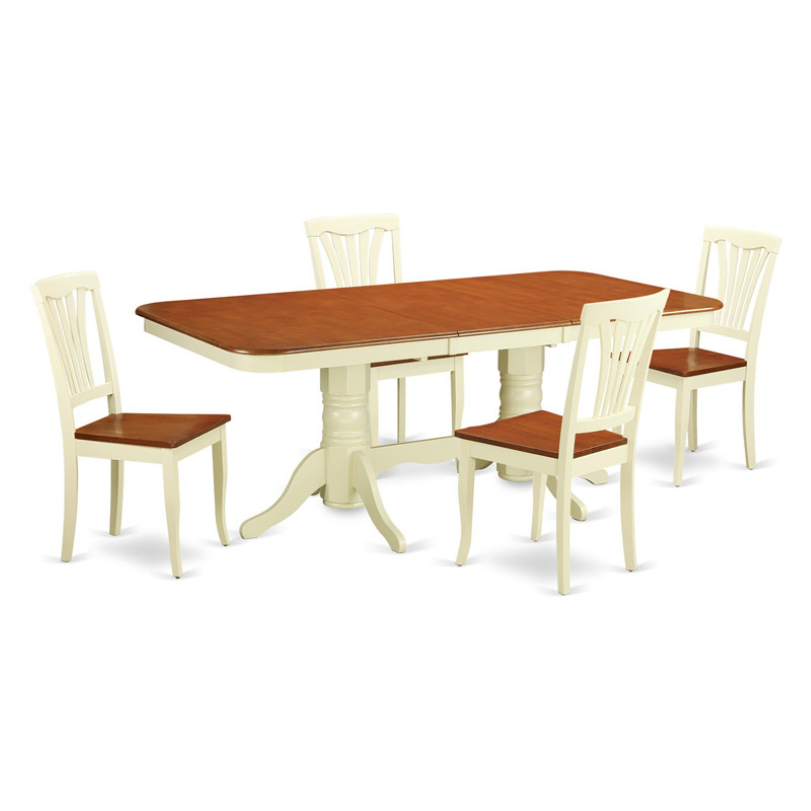East West Furniture Kenley 5 Piece Trestle Dining Table Set with Avon Chairs