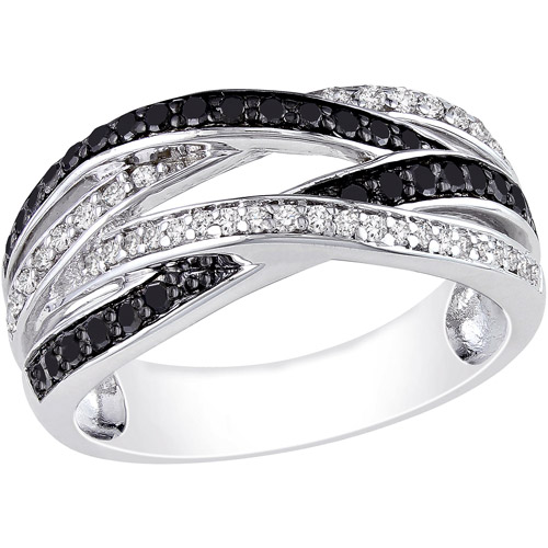 1/2 Carat T.W. Black and White Diamond Sterling Silver Cross-Over Ring