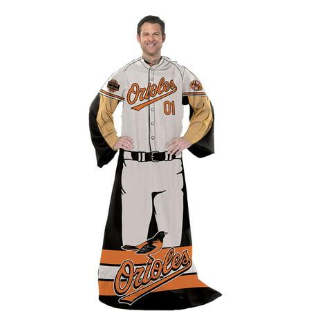Baltimore Orioles MLB Adult Uniform Comfy Throw Blanket w/ Sleeves