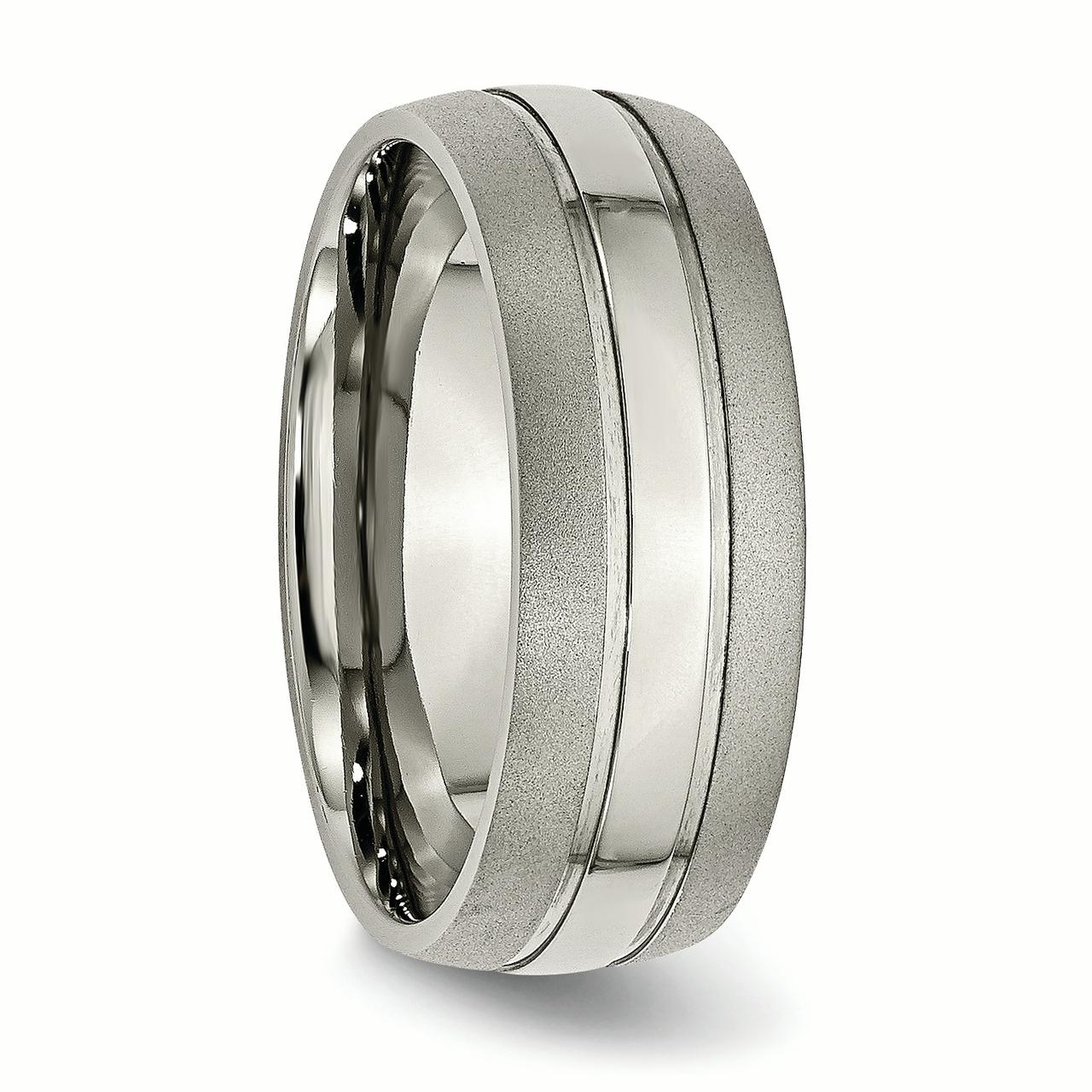 Bridal Titanium Grooved 8mm Brushed and Polished Band