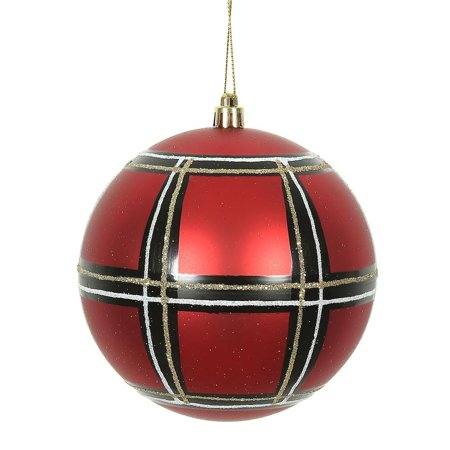 Black Christmas Ornaments.Vickerman 472309 6 Red White Black Plaid Ball Christmas Tree Ornament 2 Pack N171206d