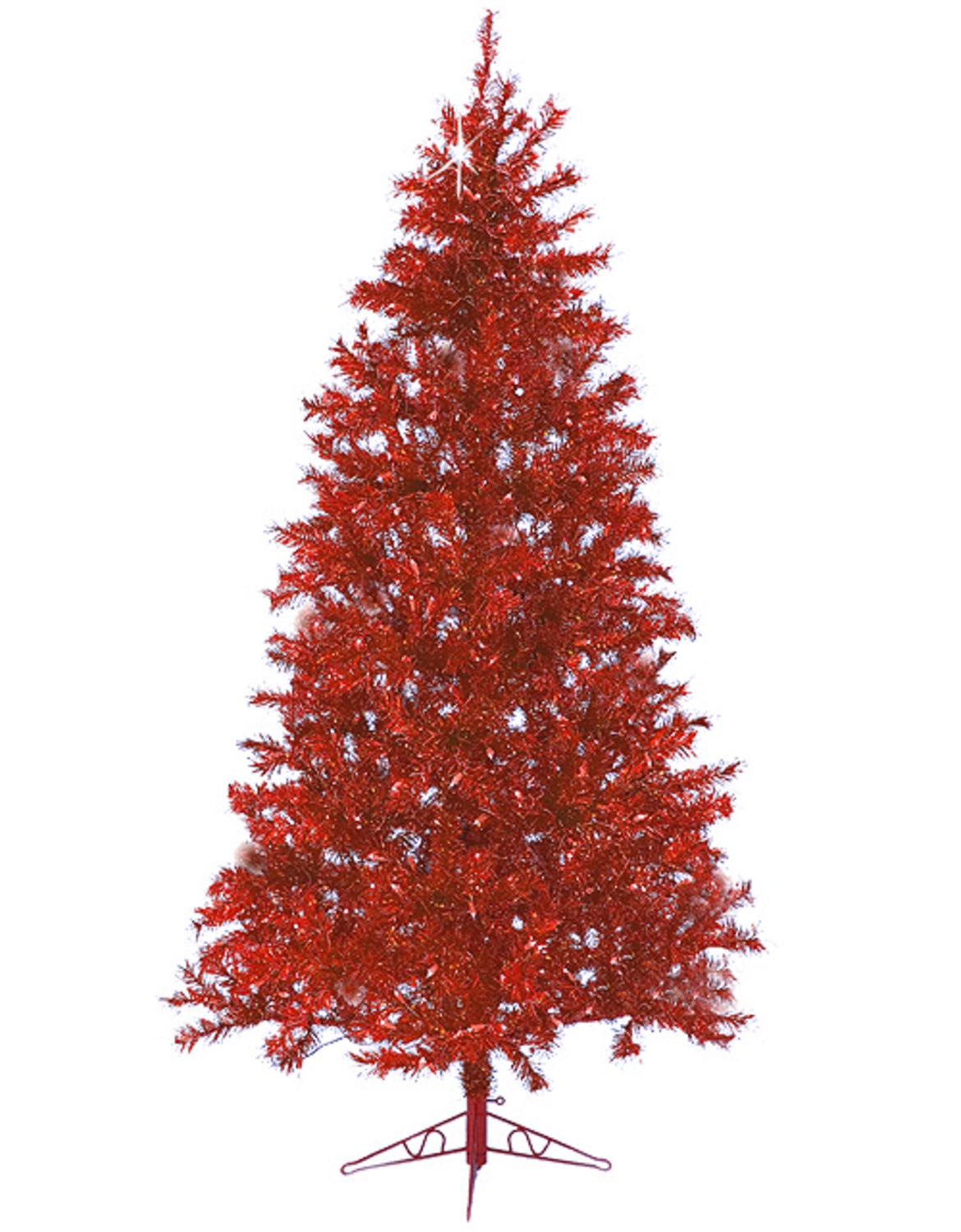 7.5' Sparkle Merlot Pre-Lit Laser Tinsel Artificial Christmas Tree Merlot Lights