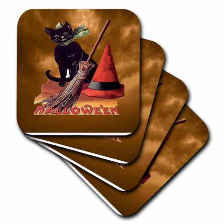 3dRose Vintage Halloween Black Cat - Soft Coasters, set of 4