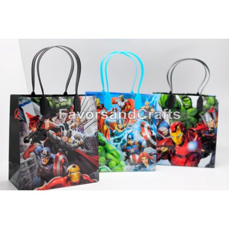 Mardel Treats - 12 Marvel Avengers Party Favor Bags Birthday Candy Treat Favors Gifts Plastic Bolsas De Recuerdo