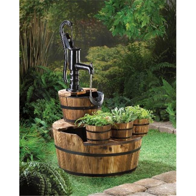 Zingz & Thingz 57070004 Pump And Wooden Barrel Garden Fountain