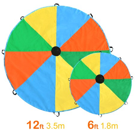 Magicfly Multicolored 6/12 Feet Parachute Toy with 8 Handles for Kids Outdoor Play Games](Pe Parachute)