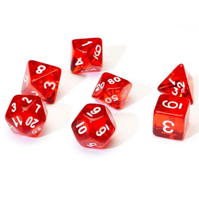 Sirius Dice SDZ000104 7 Piece Transparent Dice Set - Red & White - image 1 de 1