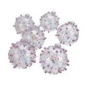 Belham Living Bead Glass Christmas Tree Ornaments, 6 Count, Silver and Pink
