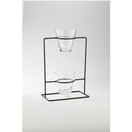 Clear Hand Blown Glass Vase with Black Stand 15