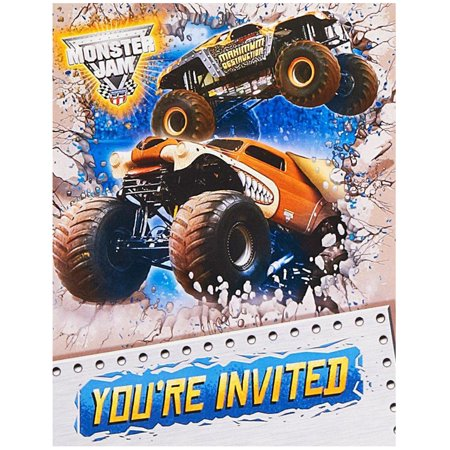 Monster Jam Party Supplies 8 Pack Invitations