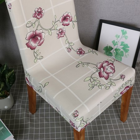 Printed Chair Cover Soft Milk Silk Home Seat Protector Stretch Anti Dust - image 2 de 7