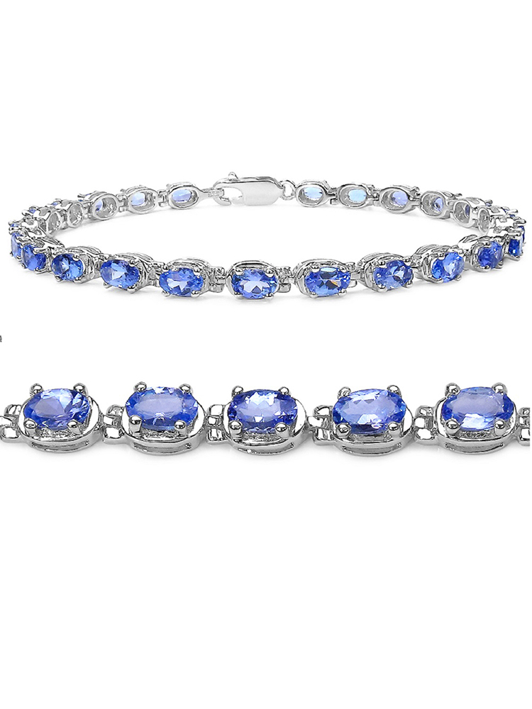 Amanda Rose Collection 6ct tw Tanzanite Tennis Bracelet in Sterling Silver 7 1/4 inches