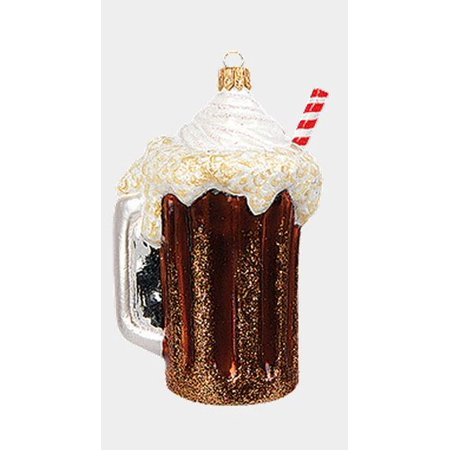 Root Beer Float with Drinking Straw Polish Glass Christmas Ornament Decoration