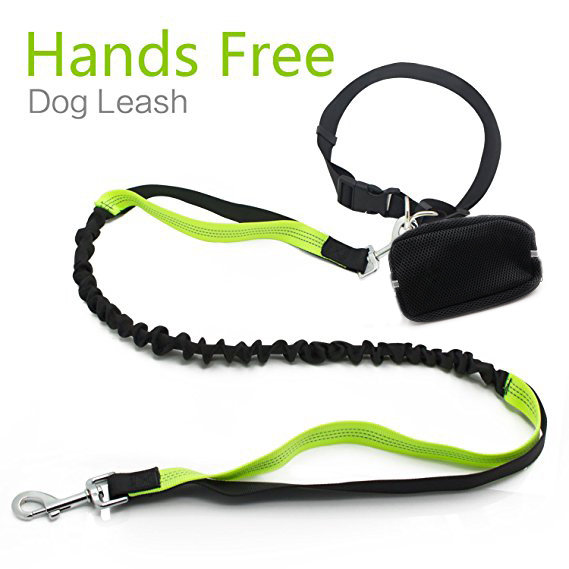 "Roadwi Bungee Dog Leash No Tangle Hands free Pet Lead with Reflective Sithching for Small Medium Large Dogs up tp 110lbs, Waist Bag Included (Leash - 4 to 6 feet, Waist - 23"" to 55"")"