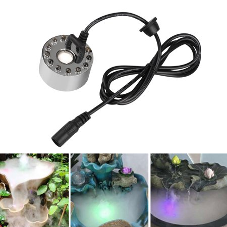 TSV Color Changing 12 LED Mist Maker Fogger Water Fountain Pond Fog Atomizer Air Humidifier Magic Mist Water Fountain