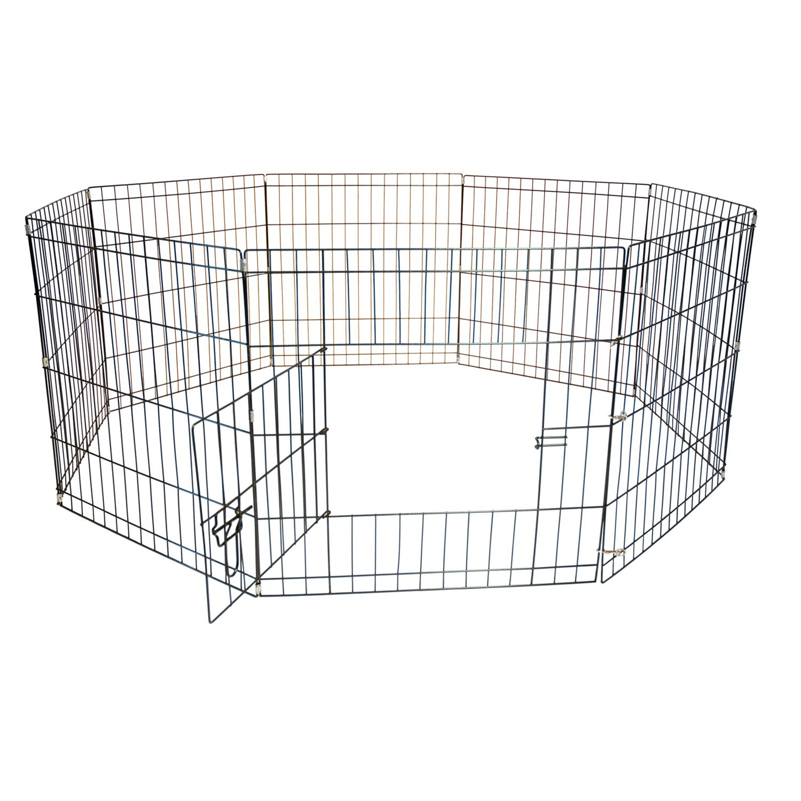 """Iconic Pet Octagon 8-Panel Portable (Foldable) Pet Dog Cat Wire Pen, 24"""" Height"""