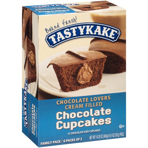 Tastykake Chocolate Lovers Cream Filled Chocolate Cupcakes, 2.375 oz, 6 ct