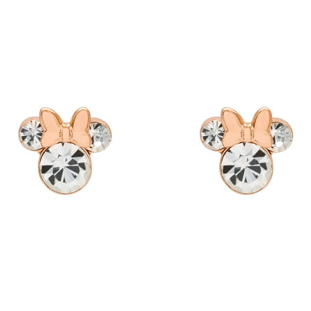 Minnie Mouse Pink Plated Crystal Stud - Crystal Flowers Stud