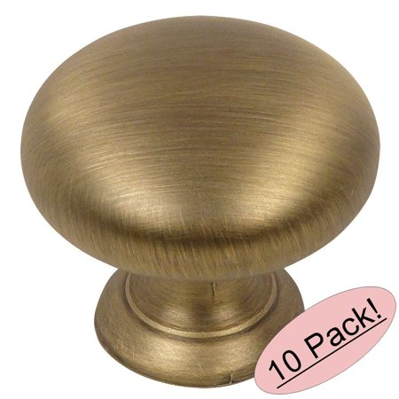 Antique Brass Finish Hardware - Cosmas 4950BAB Brushed Antique Brass Cabinet Hardware Round Mushroom Knob - 1-1/4