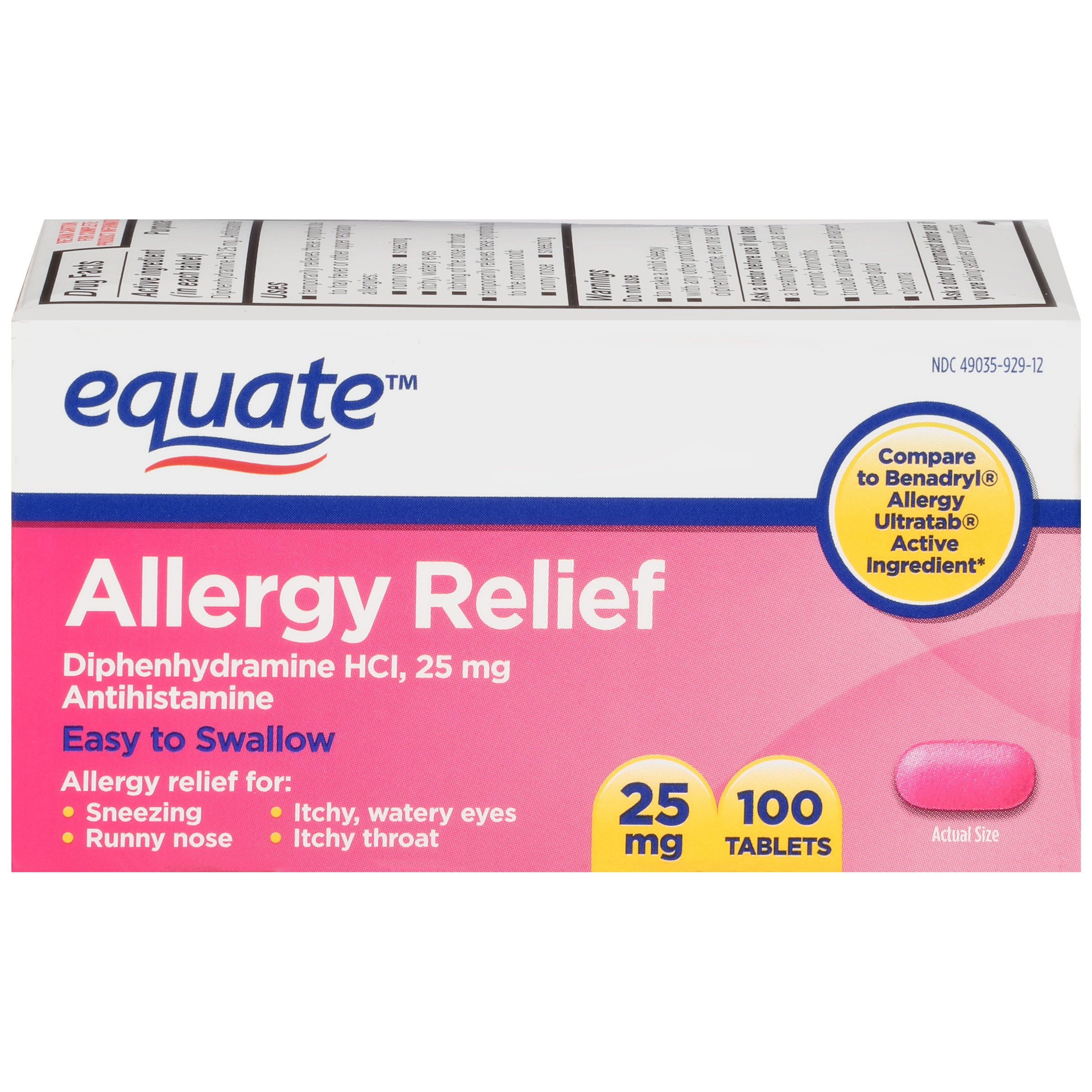 Equate Allergy Relief Diphenhydramine Tablets, 25 mg, 100 Ct