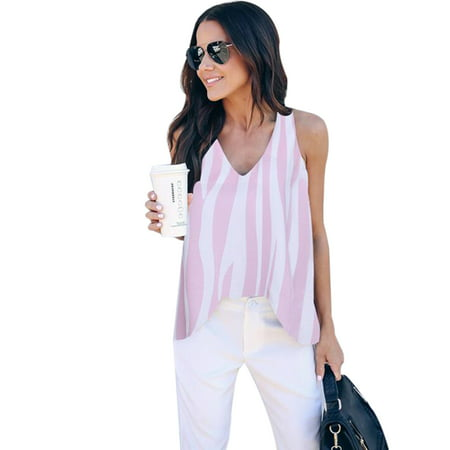 Women Summer Casual Striped V Neck T Shirt High Low Blouse Ladies Loose Vest Sleeveless Stripe Tops Cami Tank Top Shirts