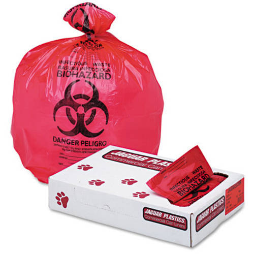 Jaguar Plastics Health Care Red Bio-Hazard Printed Liners, 150 count