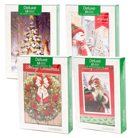 Papercraft (48 Pack) Merry Christmas Cards Deluxe Bulk Assortment Holiday Cards Pack with Foil & Glitter - Walmart.com