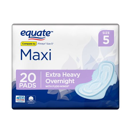 2c2f7c41ab6136 Equate Maxi Pads wih Flexi-Wings, Extra Heavy Overnight, Size 5, 20 Count -  Walmart.com