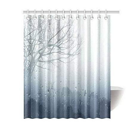 ARTJIA Rainy Scene Mystic Foggy Forest Decor, Art Romantic Window Water Drops Scene Melancholia Therapy Lonely Tree Unique Bathroom Shower Curtain 60x72 Inches, Denim Gray