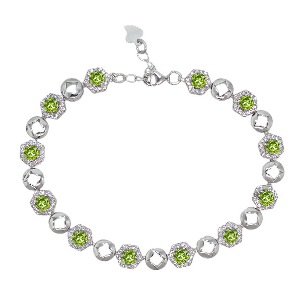 6.41 Ct Round Green Peridot 925 Sterling Silver Bracelet by
