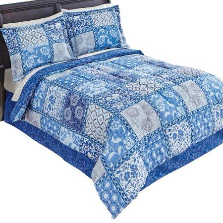 Venice Blue Floral Patchwork Designed Reversible Medium-Weight Comforter Bed Set With Sham(s) and Bedskirt, Queen, (Blue Queen Comforter)