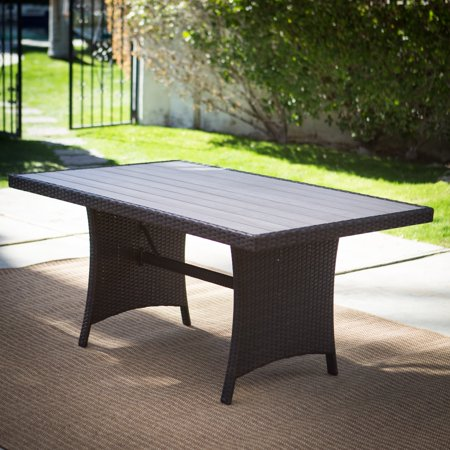 Belham Living Monticello All-Weather Wicker Rectangular Wood Top Outdoor Patio Dining Table ()
