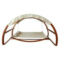 Leisure Season Swing Bed with Canopy, Medium Brown