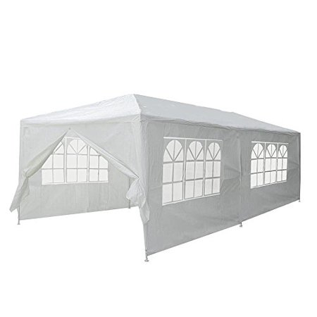 GHP 20'x10' White Steel Frame PE Joint Fittings Outdoor Canopy Tent with