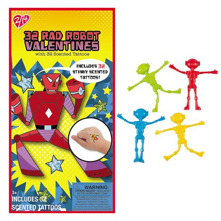 Rad Robots Valentines with Scented Temporary Tattoos & Robot Bendables - Valentine Tattoo