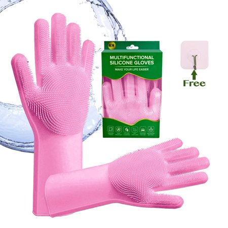 Magic Silicone Dishwashing Gloves - 1 Pair | Scrubbing Brush for Dishes, Kitchen Accessories, Fruit & Vegetable Scrub Brushes, Car Cleaning Supplies | For Pet Grooming, Dog Bathing, Stain Remover