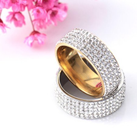 Fashionable five rows drill dimanond shiny stainless steel rings. - image 2 of 6