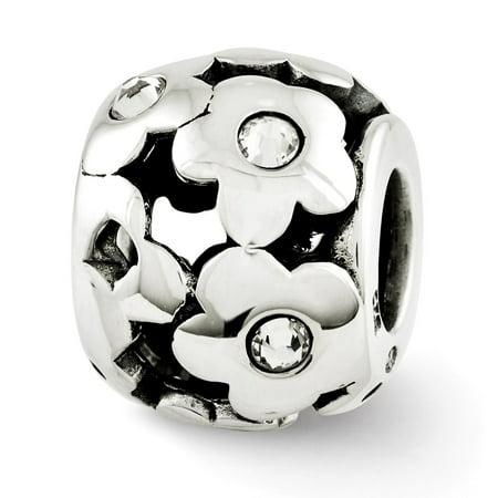 Mia Diamonds Solid 925 Sterling Silver Reflections Swarovski Crystal Flowers Bead (Swarovski Flowers)
