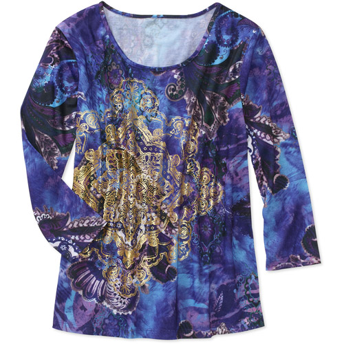 White Stag Women's 3/4 Sleeve Allover Print Knit Top
