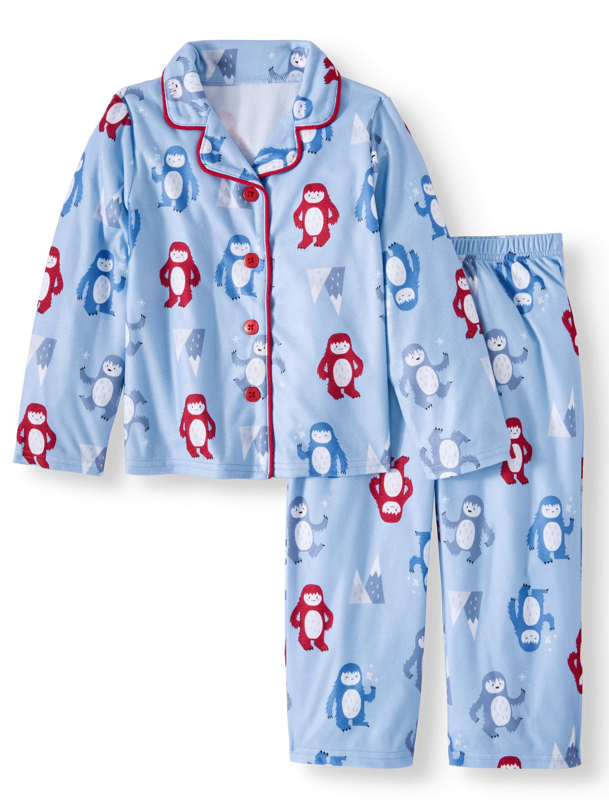 Toast & Jammies Holiday Family Sleep Yeti Notch Collar Pajamas, 2-piece Set (Toddler Boys or Toddler Girls Unisex)