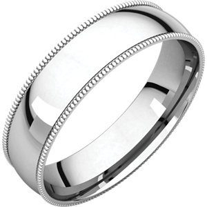 10K White 5mm Light Comfort Fit Milgrain Band