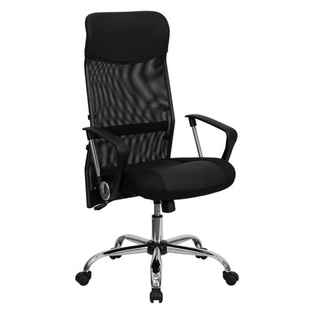 Split Leather High Back Office Chair With Mesh Black