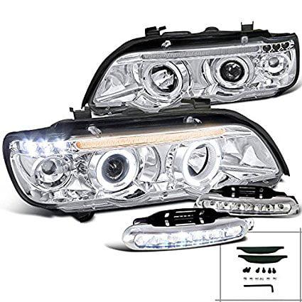 Bmw E53 X5, Chrome Halo Led Projector Headlights, Led Bumper Drl Fog Lamps ()