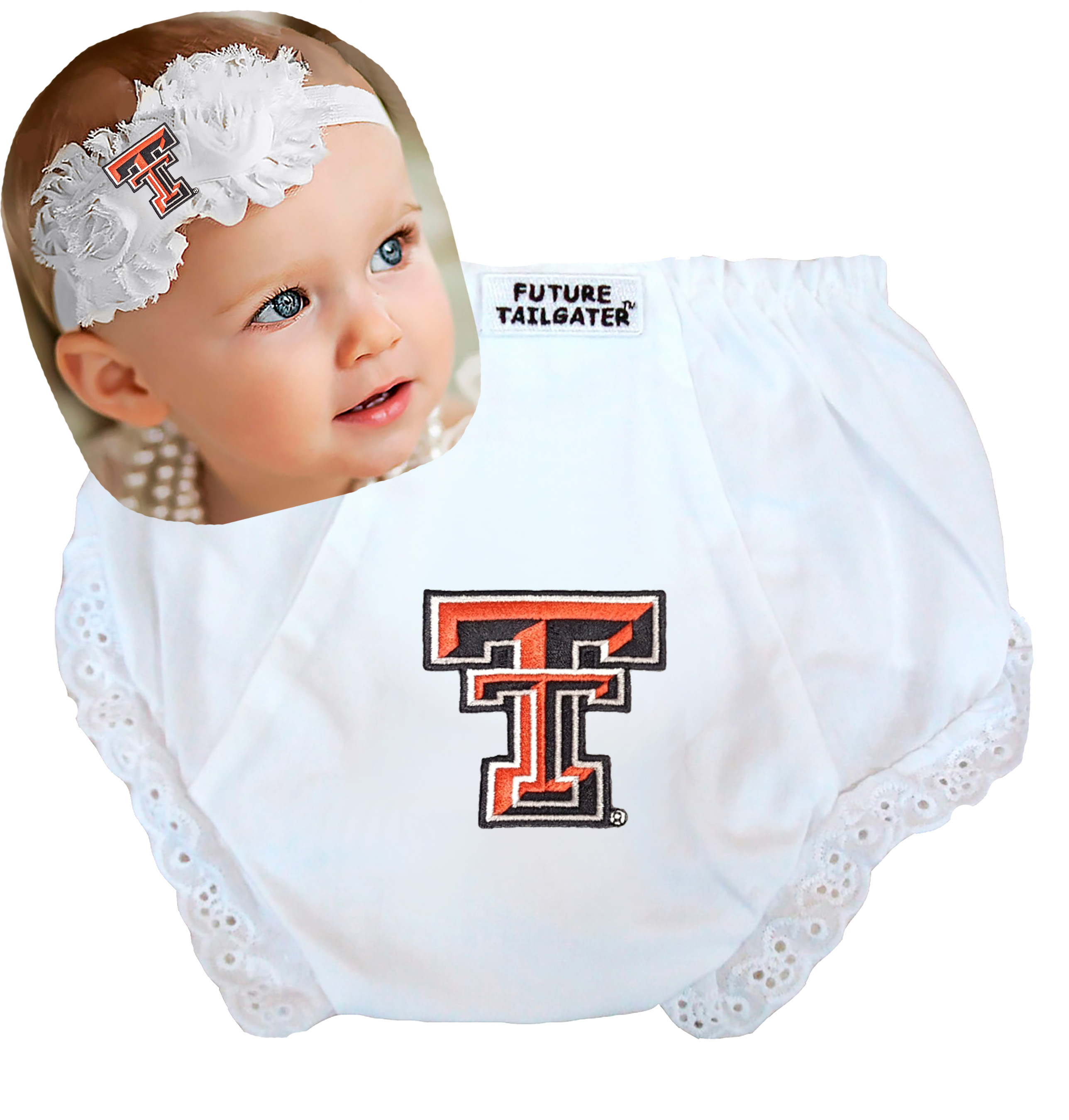 Texas Tech Red Raider Baby Diaper Cover and Shabby Flower