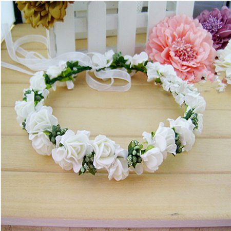 Elegant Bridal Wreath Flower Headband Hair Band Floral Crown Garland for Festival Wedding Beach - Milk White for $<!---->